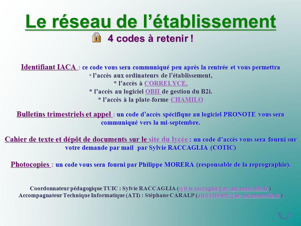 Le réseau de létablissement 4 codes à retenir ! Identifiant IACA : ce code vous sera communiqué peu après la rentrée et vous permettra * laccès aux or
