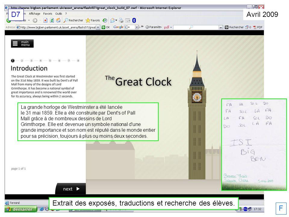 Avril 2009 Extrait des exposés, traductions et recherche des élèves.