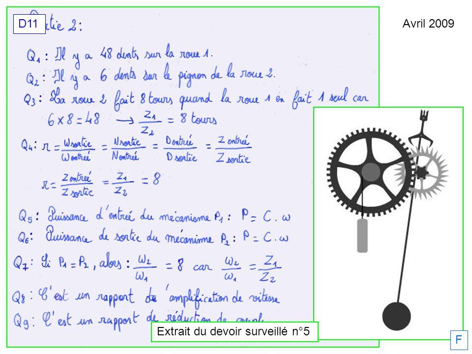 Avril 2009 D11 F Extrait du devoir surveillé n°5