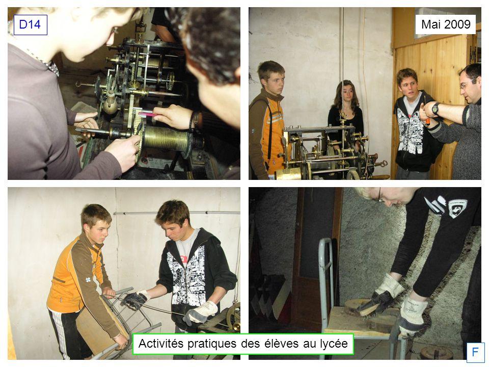 Mai 2009 Activités pratiques des élèves au lycée D14 F