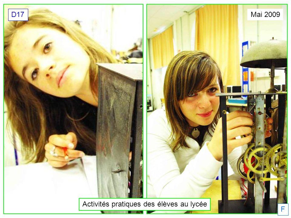 Activités pratiques des élèves au lycée Mai 2009 D17 F