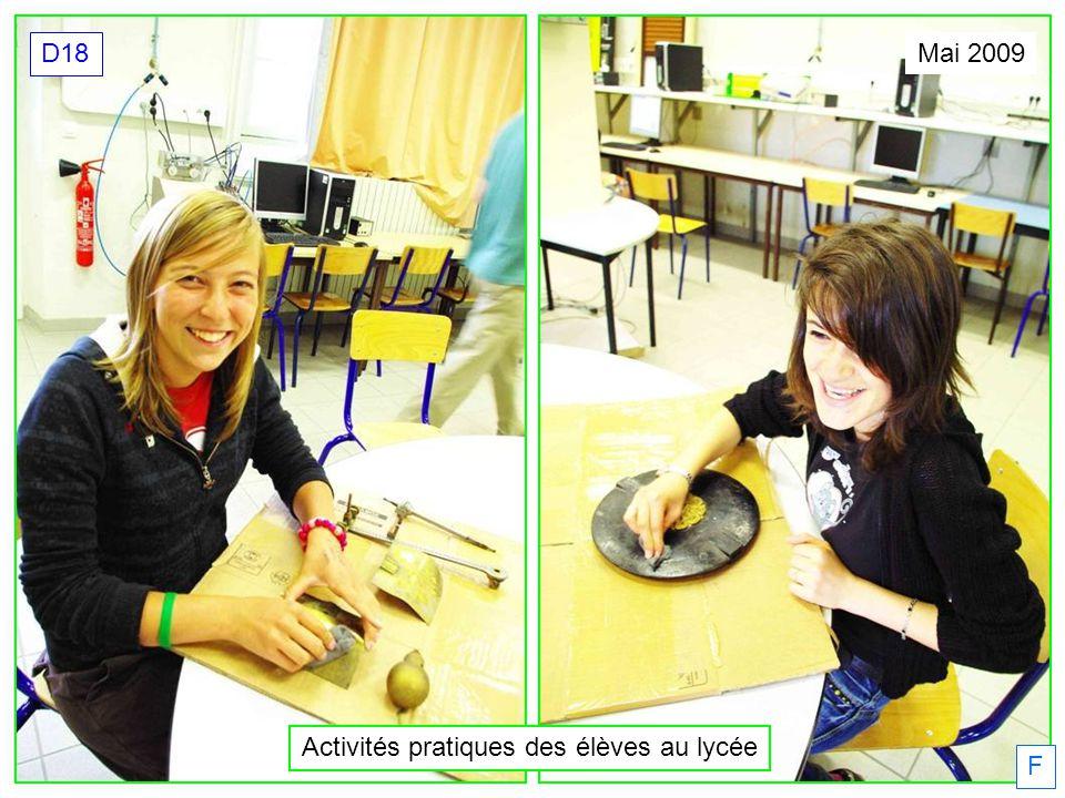 Activités pratiques des élèves au lycée Mai 2009 D18 F