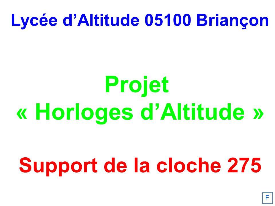 Lycée dAltitude 05100 Briançon Projet « Horloges dAltitude » Support de la cloche 275 F