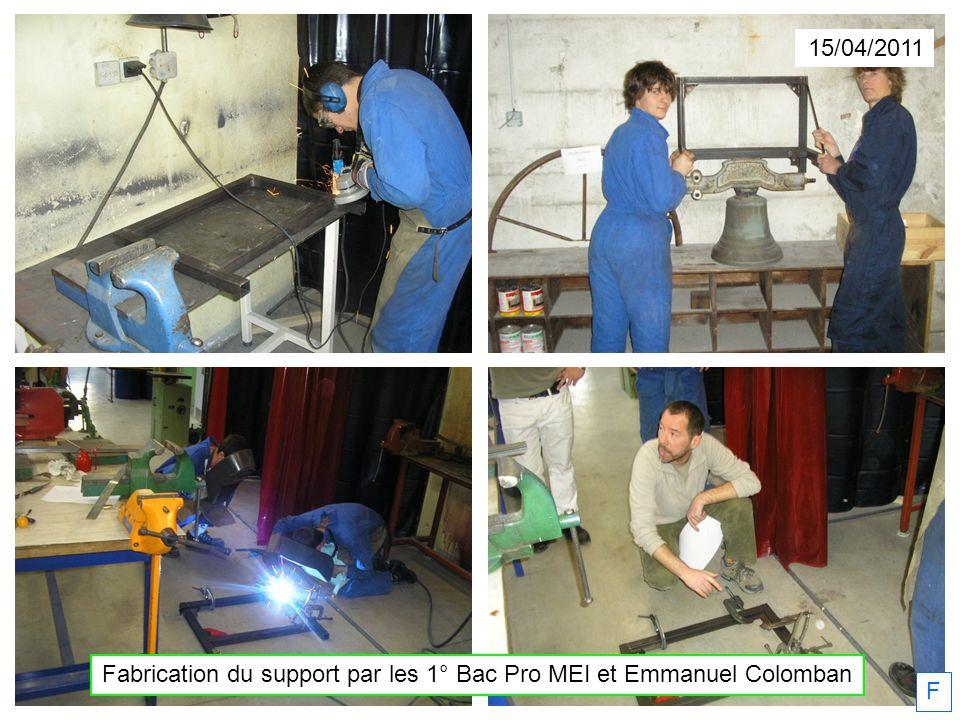 15/04/2011 Fabrication du support par les 1° Bac Pro MEI et Emmanuel Colomban F