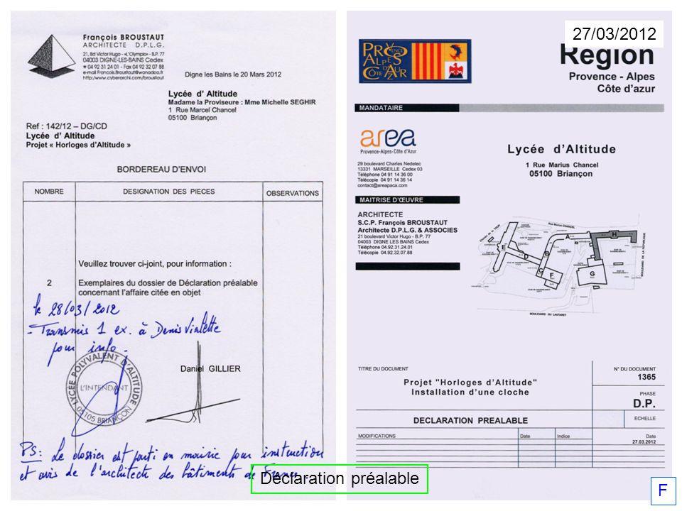Déclaration préalable 27/03/2012 F