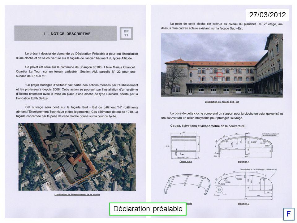 F Déclaration préalable 27/03/2012