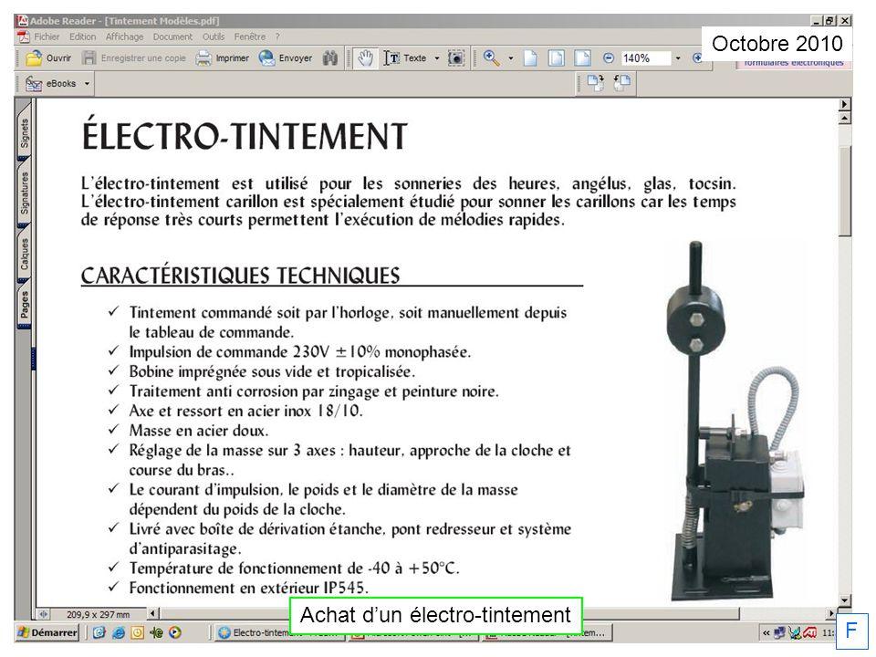 Octobre 2010 Achat dun électro-tintement F