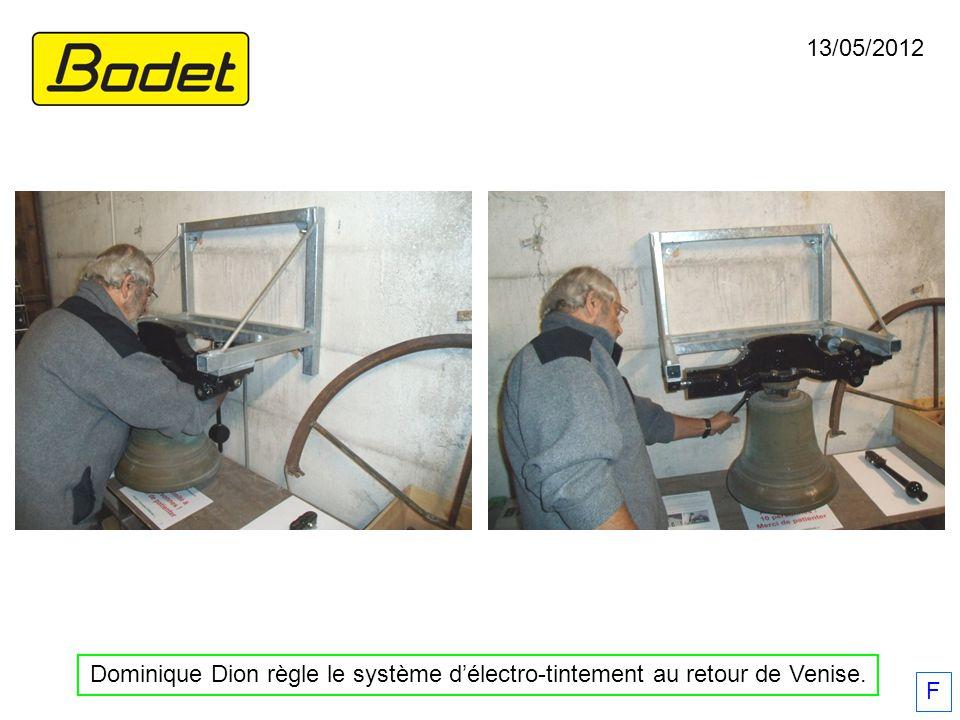 13/05/2012 F Dominique Dion règle le système délectro-tintement au retour de Venise.