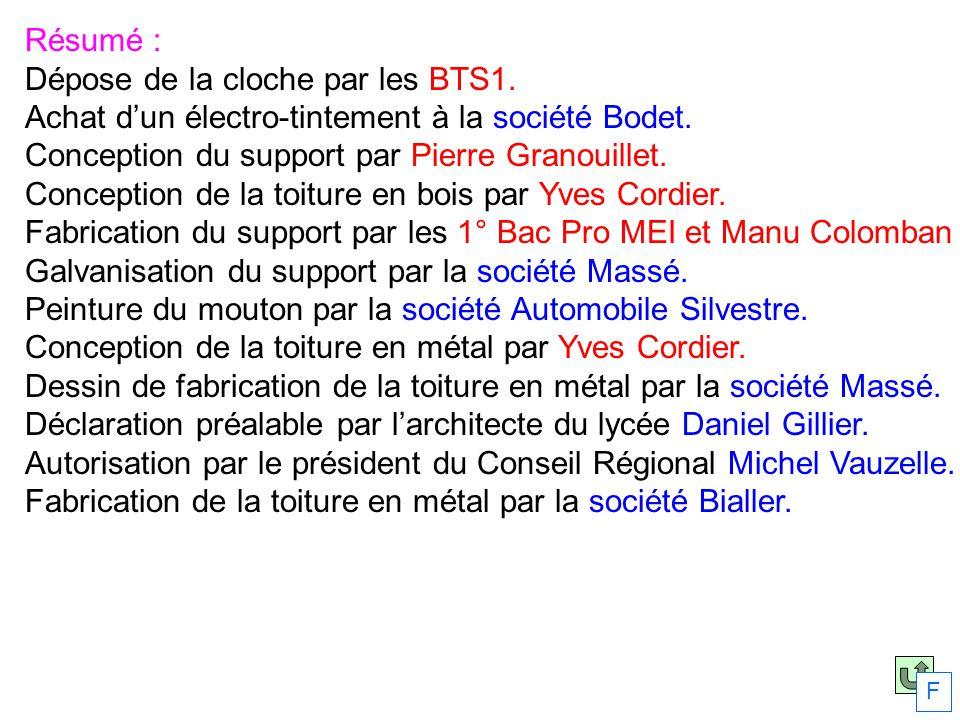 Résumé : Dépose de la cloche par les BTS1. Achat dun électro-tintement à la société Bodet. Conception du support par Pierre Granouillet. Conception de
