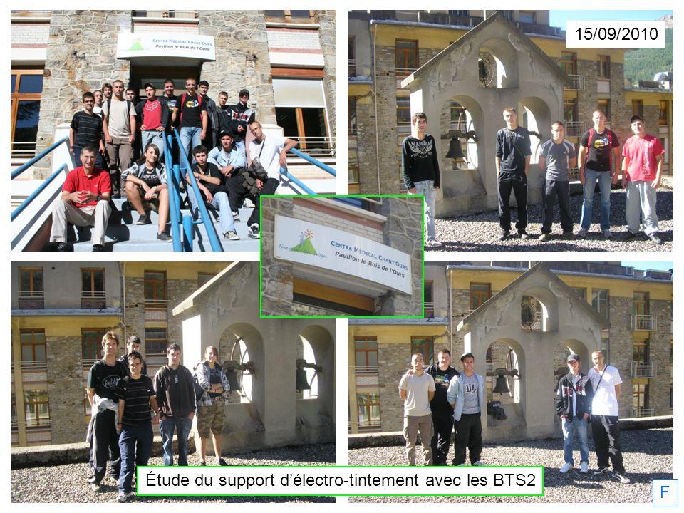 15/09/2010 Étude du support délectro-tintement avec les BTS2 F