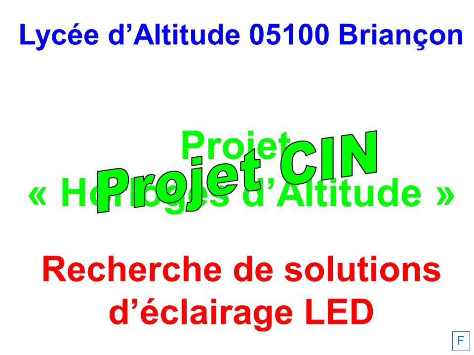 Lycée dAltitude 05100 Briançon Projet « Horloges dAltitude » Recherche de solutions déclairage LED F