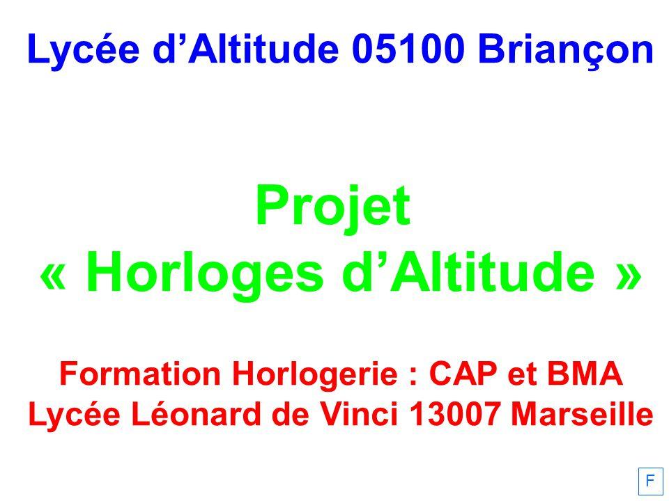 Lycée dAltitude 05100 Briançon Projet « Horloges dAltitude » Formation Horlogerie : CAP et BMA Lycée Léonard de Vinci 13007 Marseille F