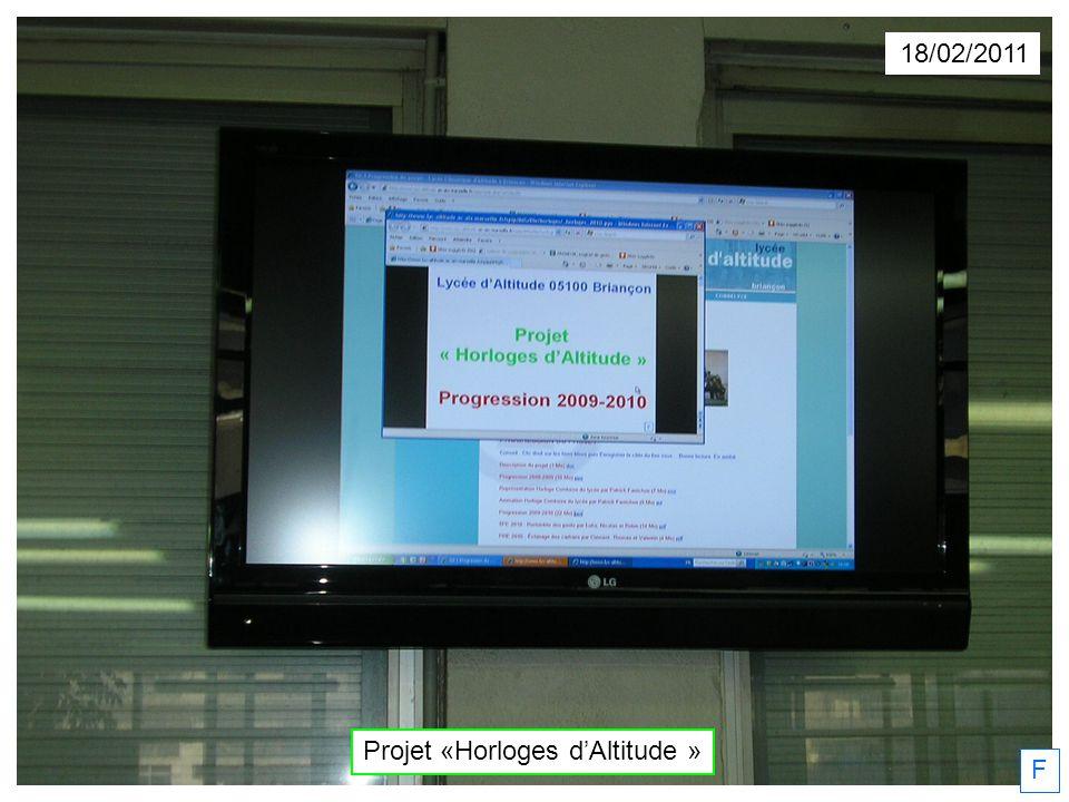 18/02/2011 Projet «Horloges dAltitude » F
