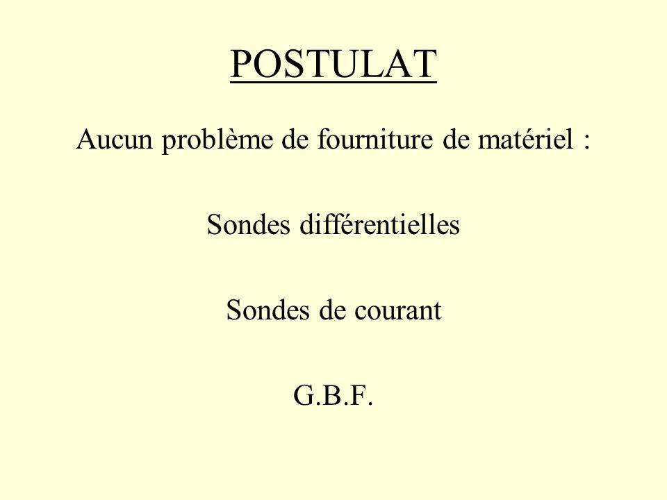 POSTULAT Aucun problème de fourniture de matériel : Sondes différentielles Sondes de courant G.B.F.