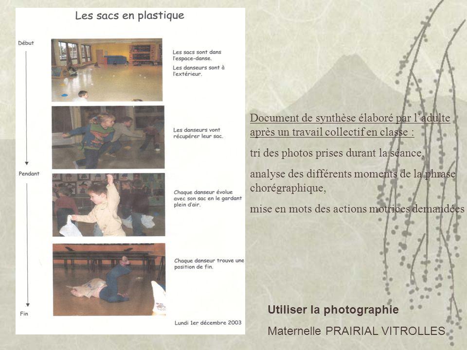 Document de synthèse élaboré par ladulte après un travail collectif en classe : tri des photos prises durant la séance, analyse des différents moments