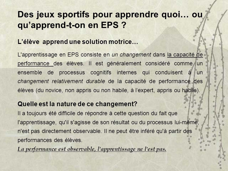 Des jeux sportifs pour apprendre quoi… ou quapprend-t-on en EPS ? Lélève apprend une solution motrice… L'apprentissage en EPS consiste en un changemen