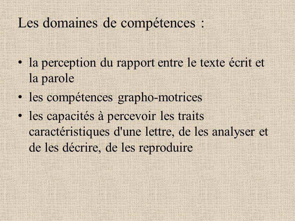 Les domaines de compétences : la perception du rapport entre le texte écrit et la parole les compétences grapho-motrices les capacités à percevoir les