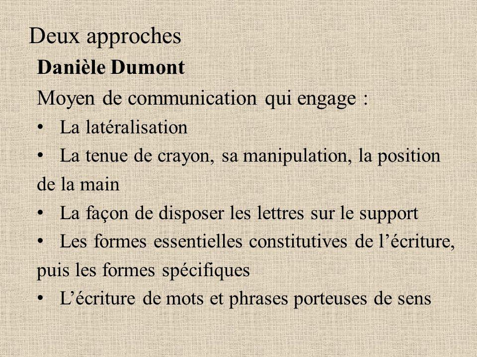 Deux approches Danièle Dumont Moyen de communication qui engage : La latéralisation La tenue de crayon, sa manipulation, la position de la main La faç