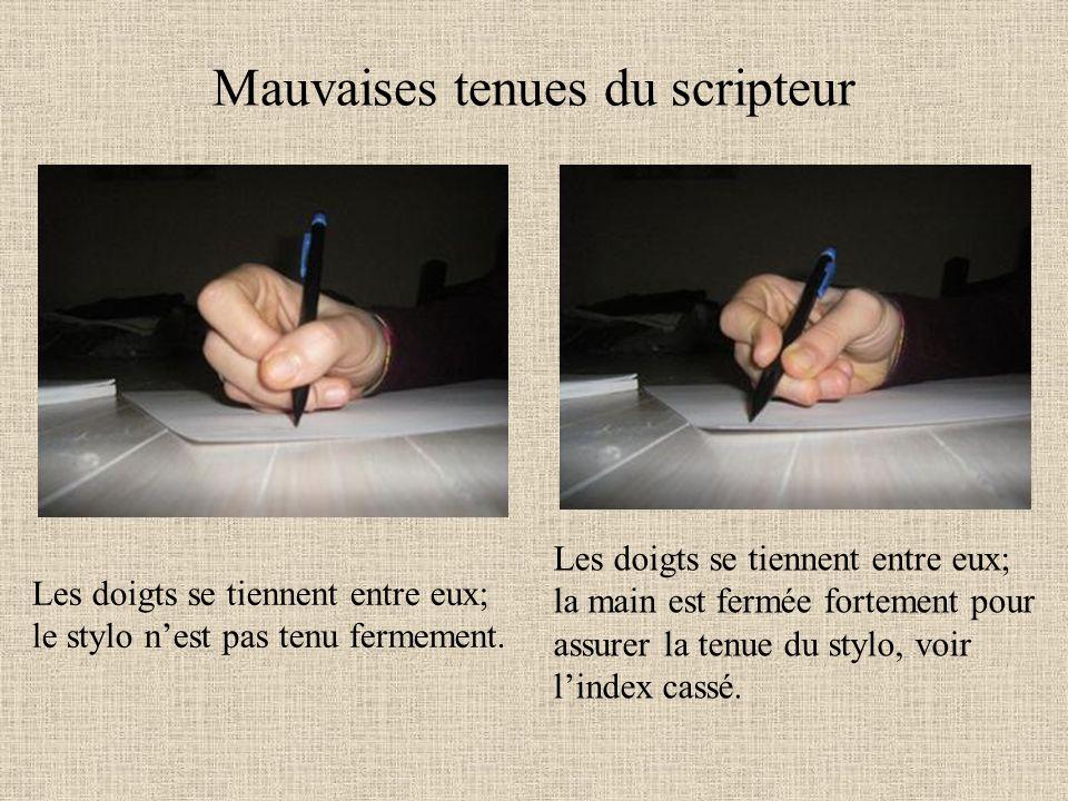 Mauvaises tenues du scripteur Les doigts se tiennent entre eux; le stylo nest pas tenu fermement. Les doigts se tiennent entre eux; la main est fermée