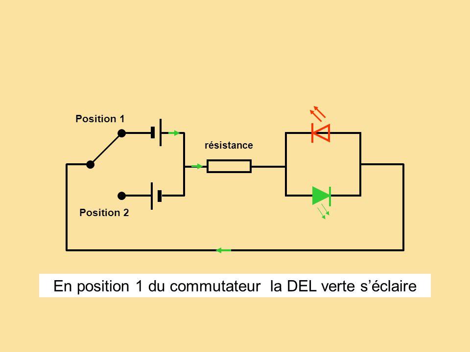 résistance Position 1 Position 2 En position 1 du commutateur la DEL verte séclaire