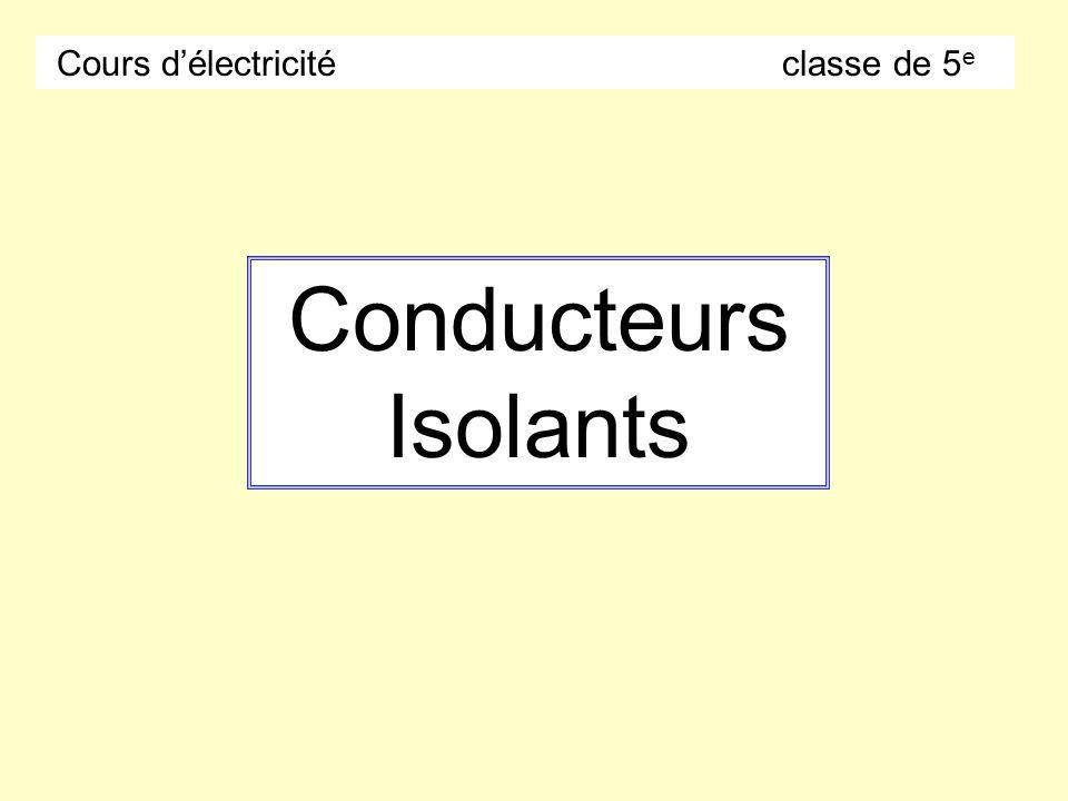 Conducteurs Isolants Cours délectricité classe de 5 e