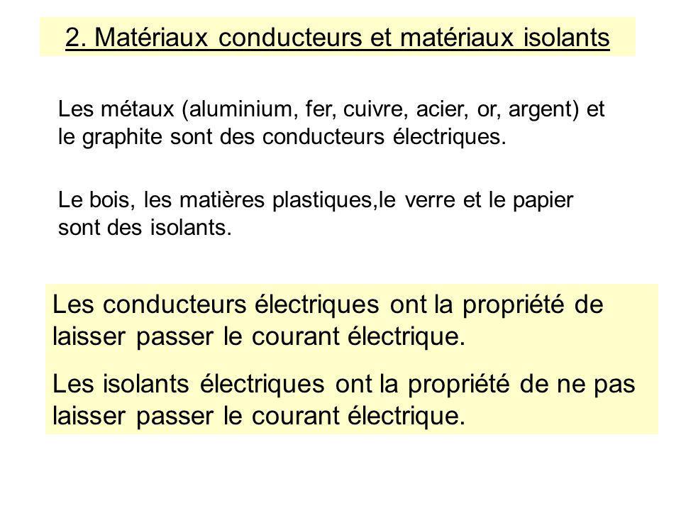 Les métaux (aluminium, fer, cuivre, acier, or, argent) et le graphite sont des conducteurs électriques.