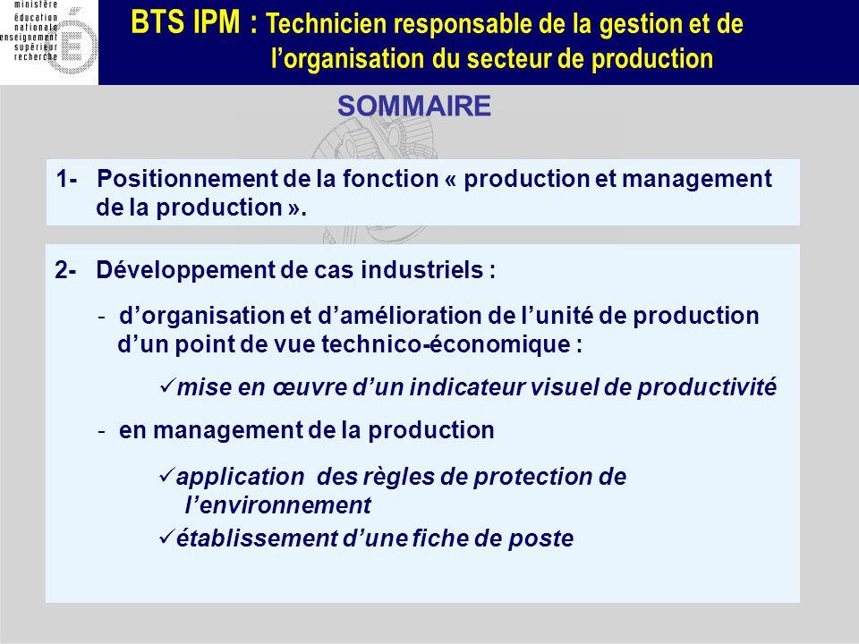 BTS IPM : Technicien responsable de la gestion et de lorganisation du secteur de production 2- Développement de cas industriels : - dorganisation et d