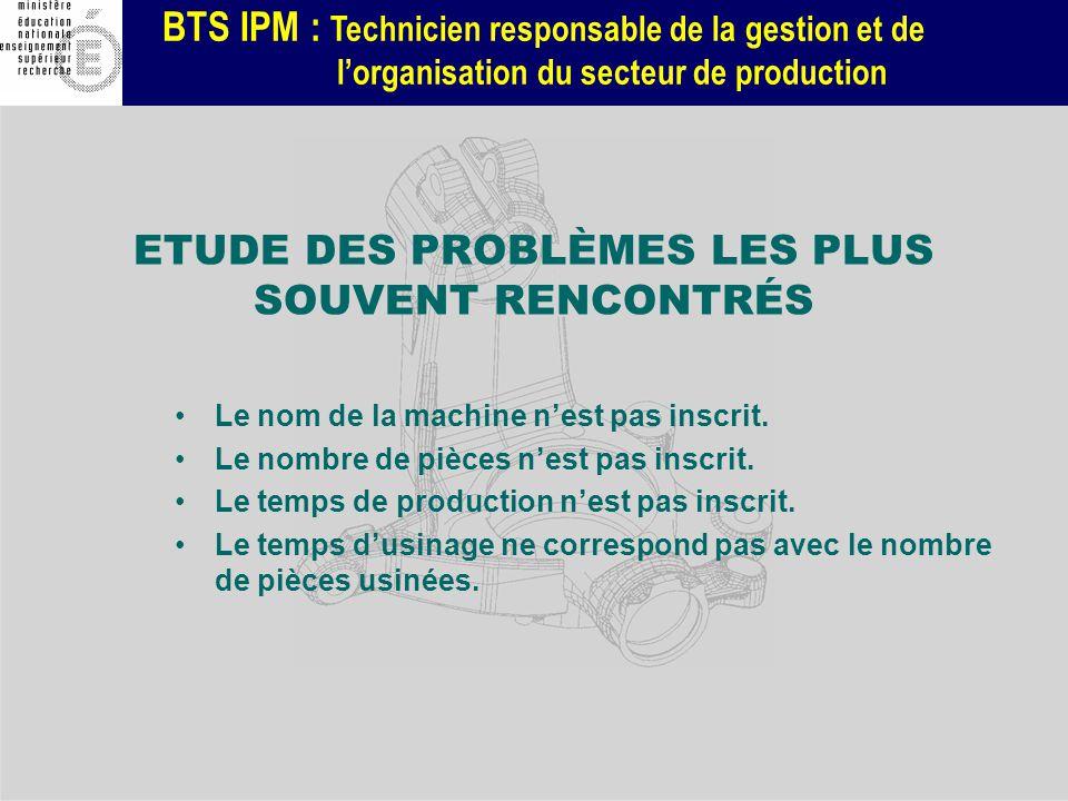 BTS IPM : Technicien responsable de la gestion et de lorganisation du secteur de production ETUDE DES PROBLÈMES LES PLUS SOUVENT RENCONTRÉS Le nom de