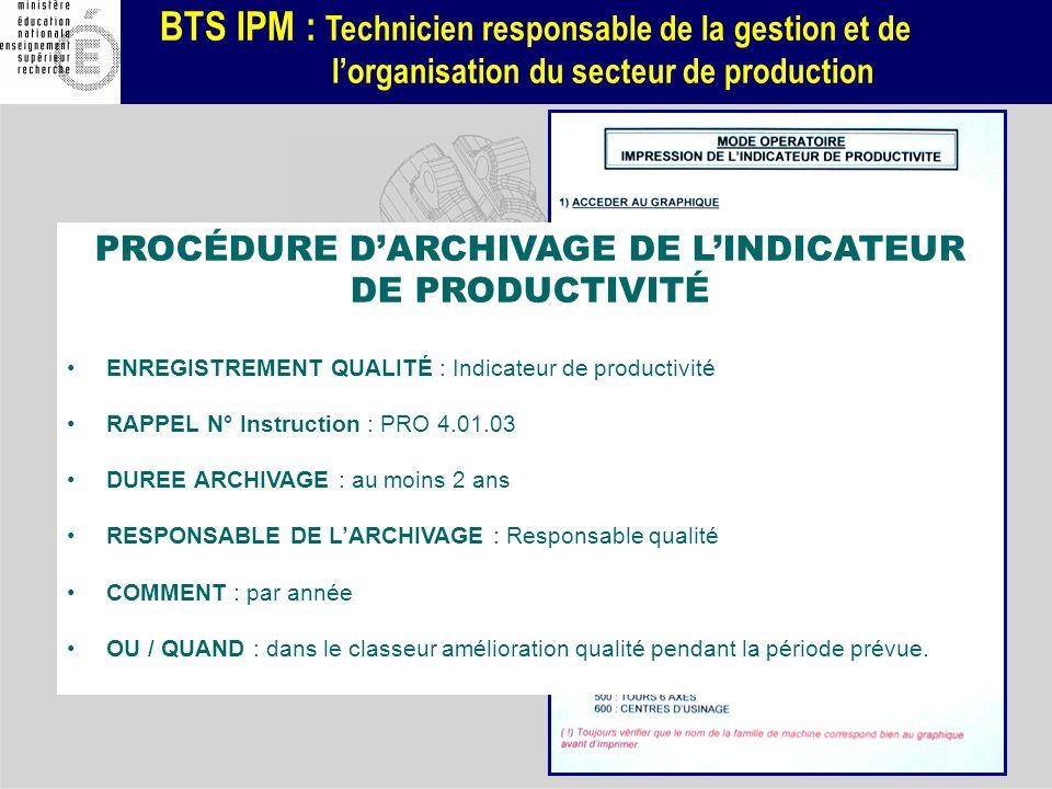 BTS IPM : Technicien responsable de la gestion et de lorganisation du secteur de production 4.2 - par rédaction du mode opératoire 4.3 - par rédaction