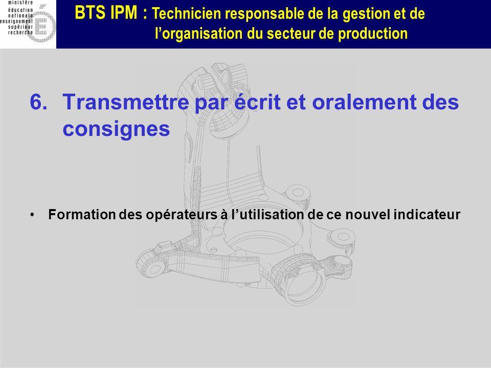 BTS IPM : Technicien responsable de la gestion et de lorganisation du secteur de production 6.Transmettre par écrit et oralement des consignes Formati