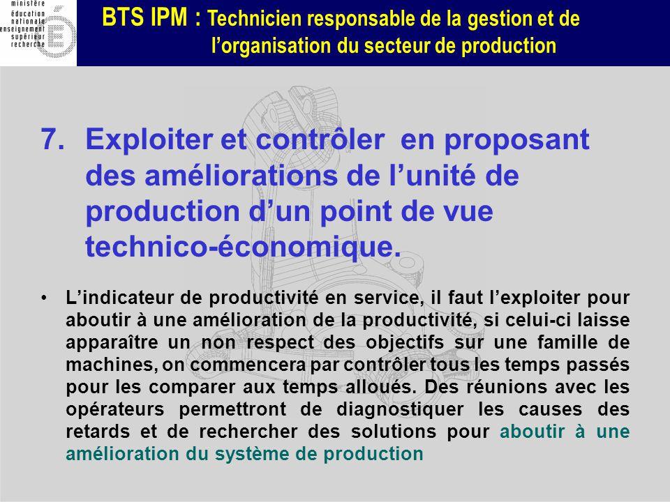 BTS IPM : Technicien responsable de la gestion et de lorganisation du secteur de production 7.Exploiter et contrôler en proposant des améliorations de