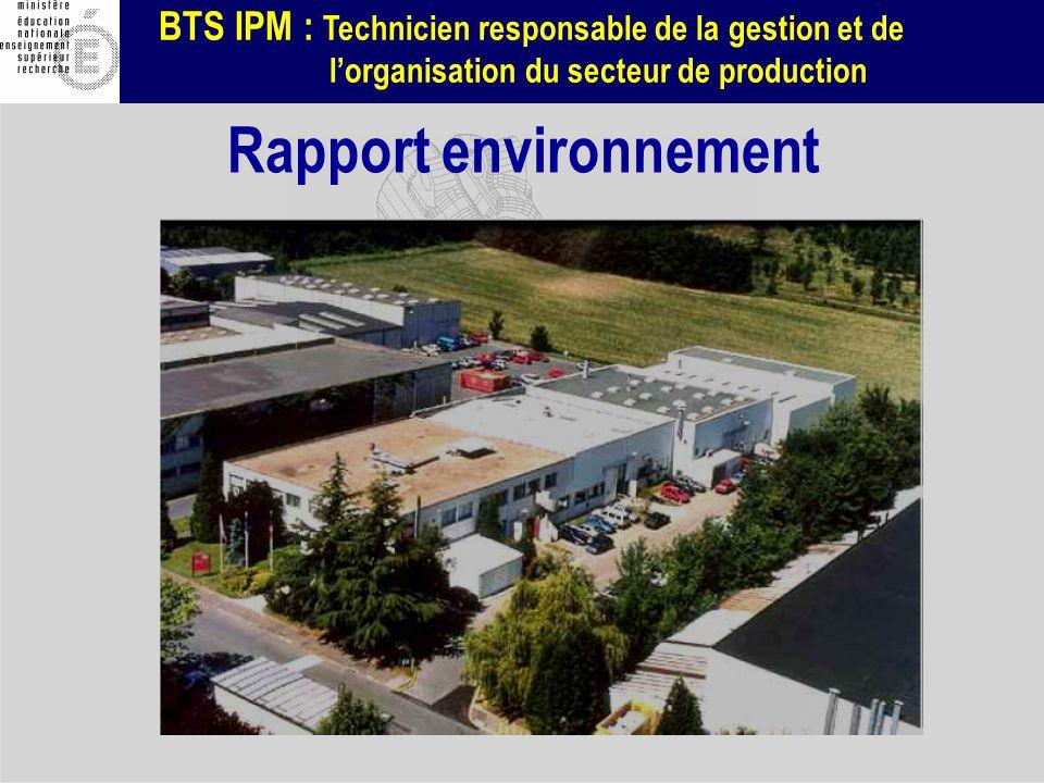 BTS IPM : Technicien responsable de la gestion et de lorganisation du secteur de production Rapport environnement