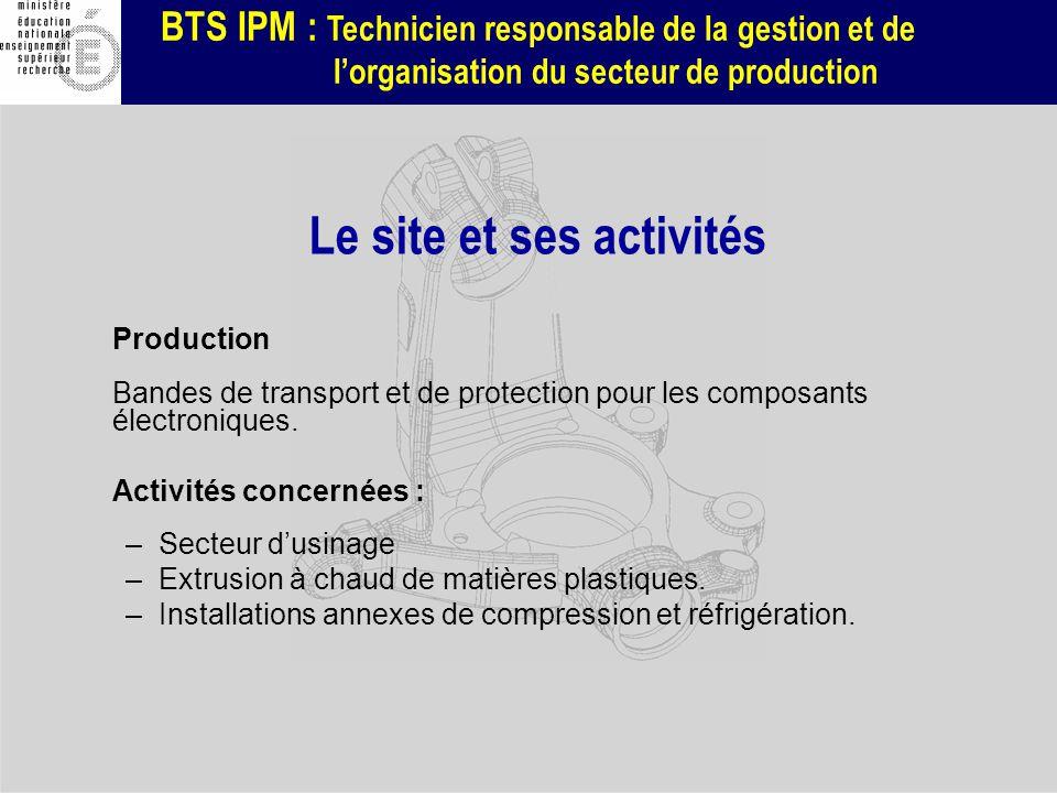 BTS IPM : Technicien responsable de la gestion et de lorganisation du secteur de production Production Bandes de transport et de protection pour les c