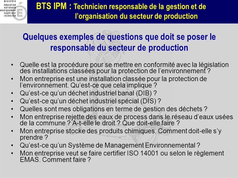 BTS IPM : Technicien responsable de la gestion et de lorganisation du secteur de production Quelques exemples de questions que doit se poser le respon