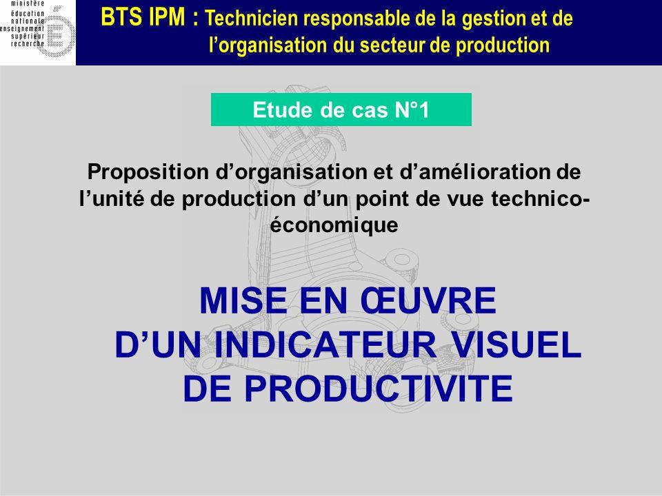 BTS IPM : Technicien responsable de la gestion et de lorganisation du secteur de production MISE EN ŒUVRE DUN INDICATEUR VISUEL DE PRODUCTIVITE Propos