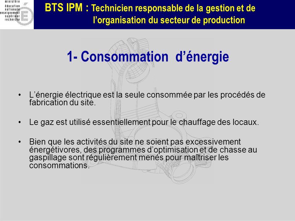 BTS IPM : Technicien responsable de la gestion et de lorganisation du secteur de production 1- Consommation dénergie Lénergie électrique est la seule