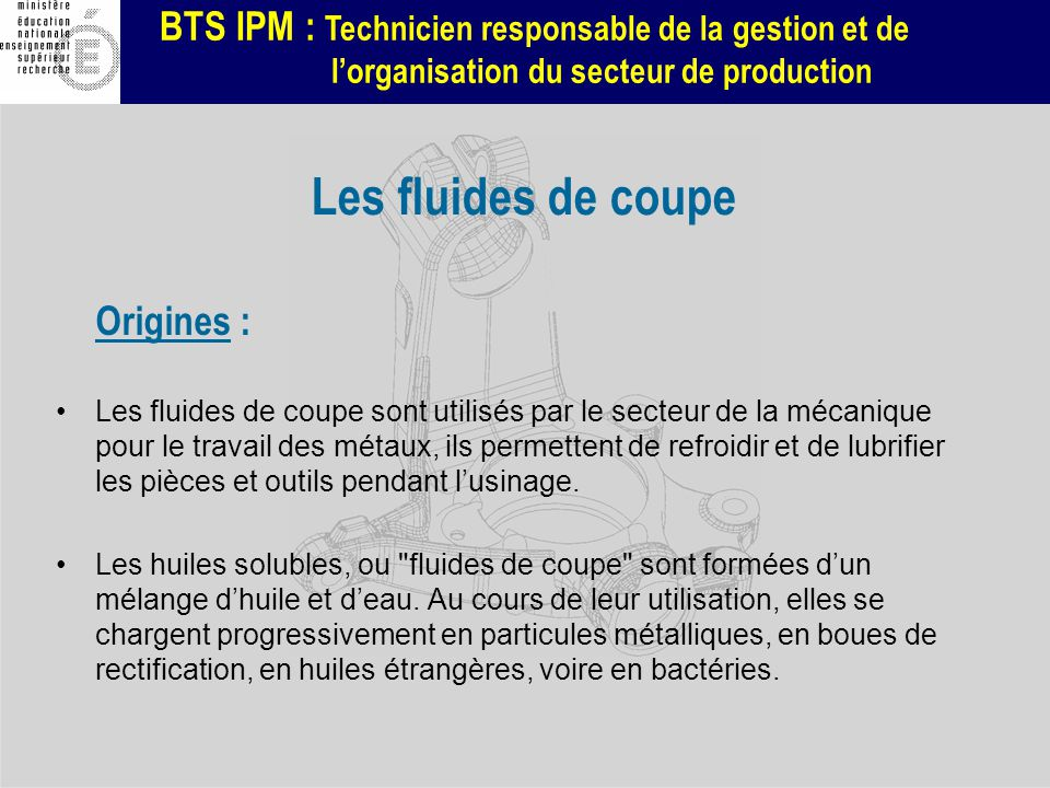 BTS IPM : Technicien responsable de la gestion et de lorganisation du secteur de production Les fluides de coupe Origines : Les fluides de coupe sont