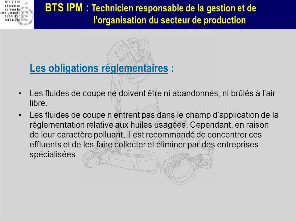 BTS IPM : Technicien responsable de la gestion et de lorganisation du secteur de production Les obligations réglementaires : Les fluides de coupe ne d