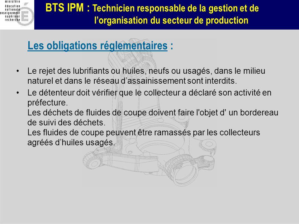 BTS IPM : Technicien responsable de la gestion et de lorganisation du secteur de production Les obligations réglementaires : Le rejet des lubrifiants