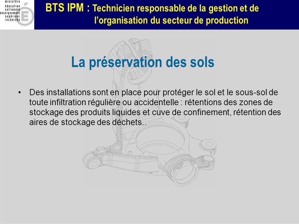 BTS IPM : Technicien responsable de la gestion et de lorganisation du secteur de production La préservation des sols Des installations sont en place p