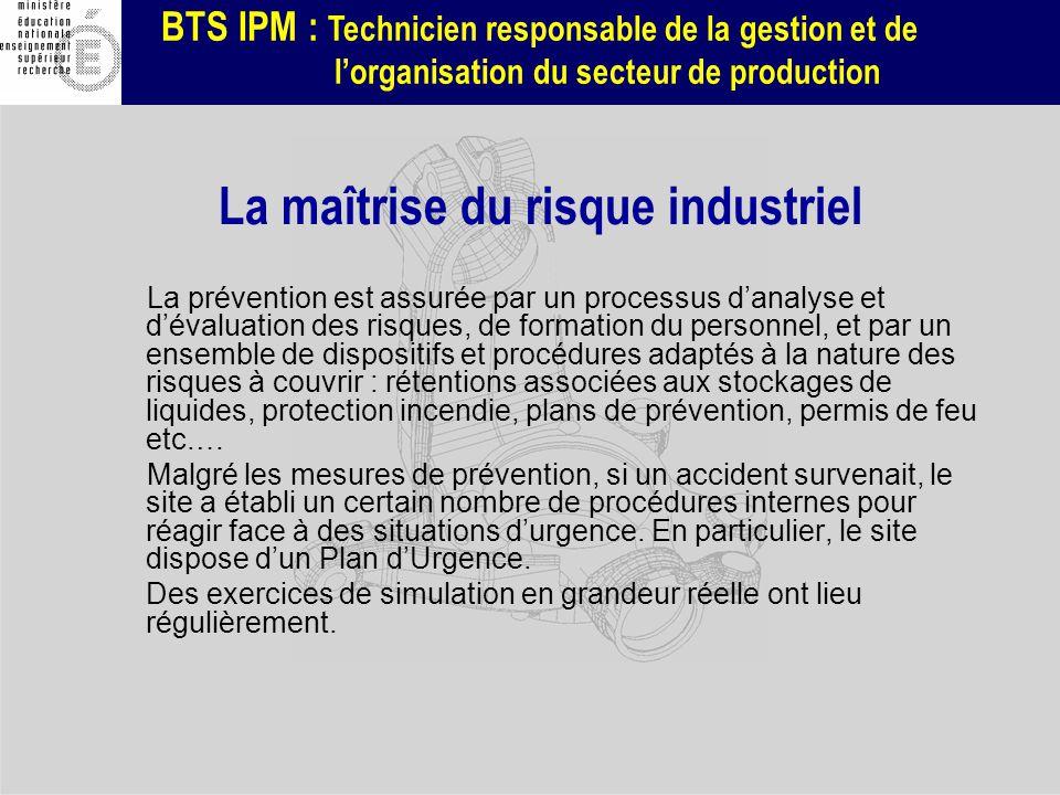 BTS IPM : Technicien responsable de la gestion et de lorganisation du secteur de production La maîtrise du risque industriel La prévention est assurée
