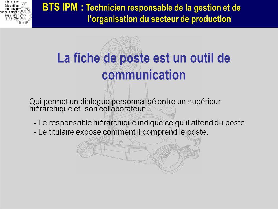 BTS IPM : Technicien responsable de la gestion et de lorganisation du secteur de production La fiche de poste est un outil de communication Qui permet