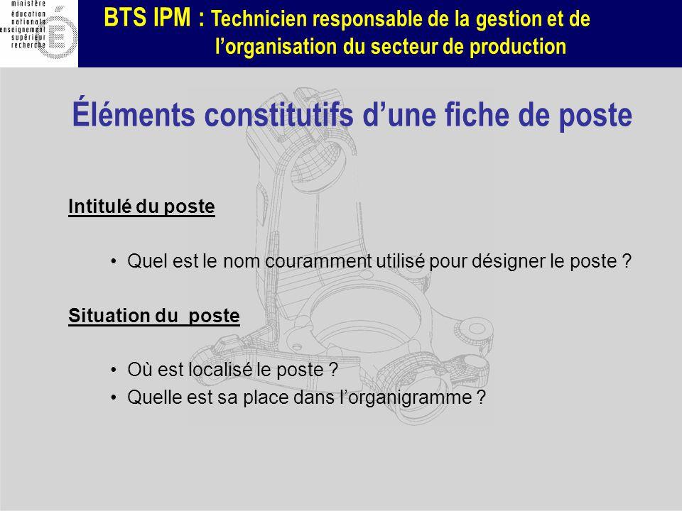BTS IPM : Technicien responsable de la gestion et de lorganisation du secteur de production Intitulé du poste Quel est le nom couramment utilisé pour