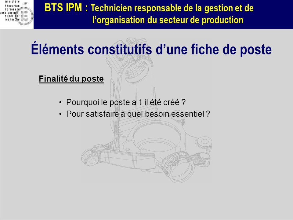 BTS IPM : Technicien responsable de la gestion et de lorganisation du secteur de production Finalité du poste Pourquoi le poste a-t-il été créé ? Pour
