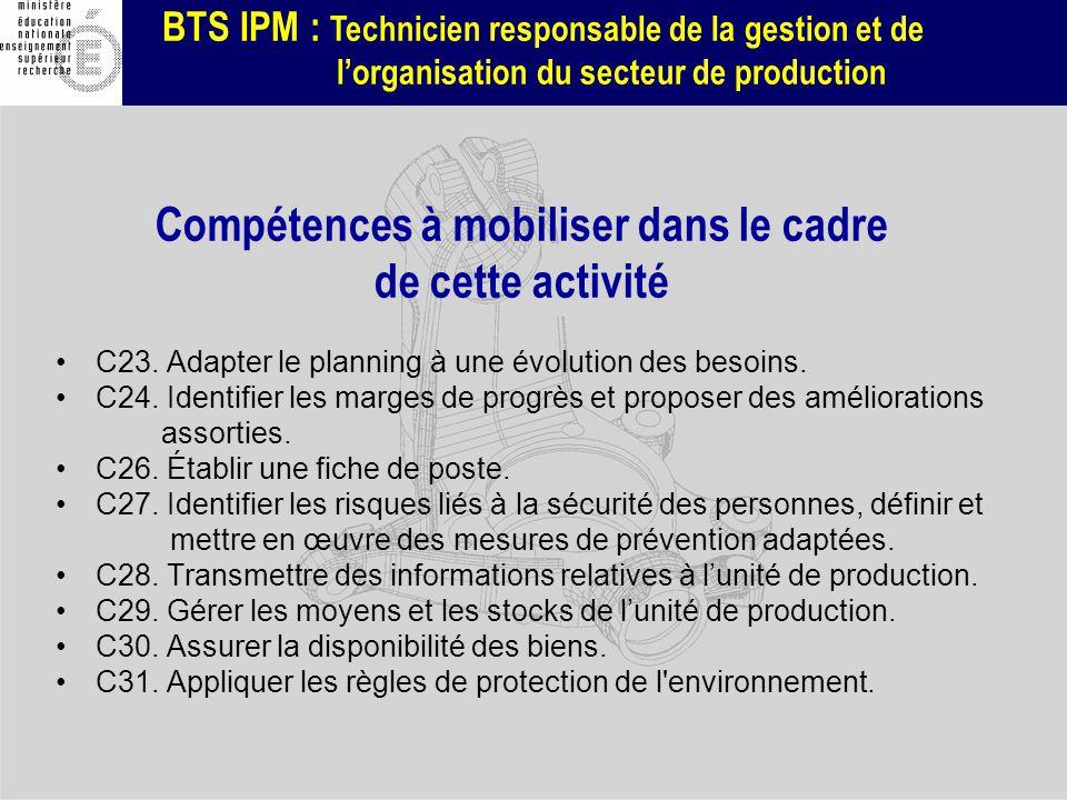 BTS IPM : Technicien responsable de la gestion et de lorganisation du secteur de production Compétences à mobiliser dans le cadre de cette activité C2