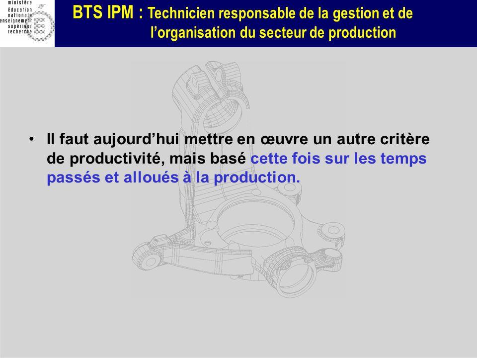 BTS IPM : Technicien responsable de la gestion et de lorganisation du secteur de production Il faut aujourdhui mettre en œuvre un autre critère de pro