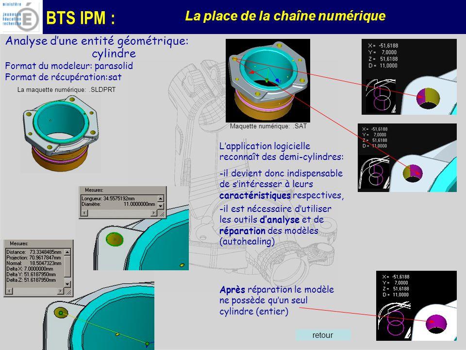 BTS IPM : La place de la chaîne numérique Analyse dune entité géométrique: cylindre Format du modeleur: parasolid Format de récupération:sat La maquette numérique:.SLDPRT Maquette numérique:.SAT Lapplication logicielle reconnaît des demi-cylindres: -il devient donc indispensable de sintéresser à leurs caractéristiques respectives, -il est nécessaire dutiliser les outils danalyse et de réparation des modèles (autohealing) Après réparation le modèle ne possède quun seul cylindre (entier) retour