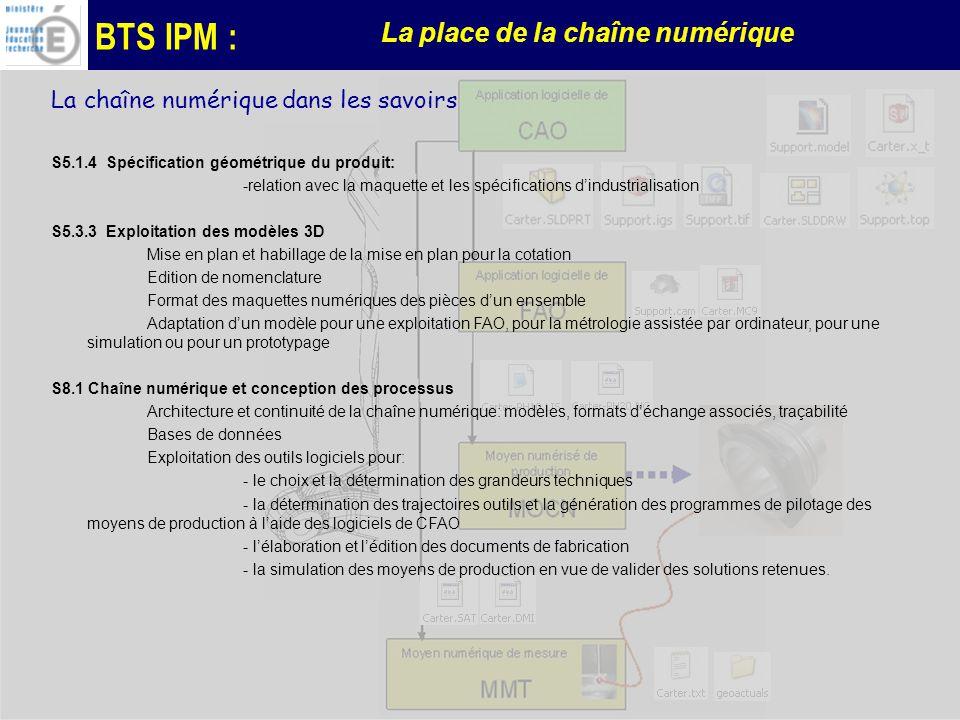 BTS IPM : La place de la chaîne numérique La chaîne numérique dans les savoirs S5.1.4 Spécification géométrique du produit: -relation avec la maquette et les spécifications dindustrialisation S5.3.3 Exploitation des modèles 3D Mise en plan et habillage de la mise en plan pour la cotation Edition de nomenclature Format des maquettes numériques des pièces dun ensemble Adaptation dun modèle pour une exploitation FAO, pour la métrologie assistée par ordinateur, pour une simulation ou pour un prototypage S8.1 Chaîne numérique et conception des processus Architecture et continuité de la chaîne numérique: modèles, formats déchange associés, traçabilité Bases de données Exploitation des outils logiciels pour: - le choix et la détermination des grandeurs techniques - la détermination des trajectoires outils et la génération des programmes de pilotage des moyens de production à laide des logiciels de CFAO - lélaboration et lédition des documents de fabrication - la simulation des moyens de production en vue de valider des solutions retenues.