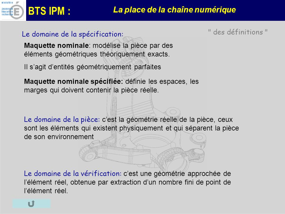 BTS IPM : La place de la chaîne numérique Le domaine de la spécification: Maquette nominale: modélise la pièce par des éléments géométriques théorique