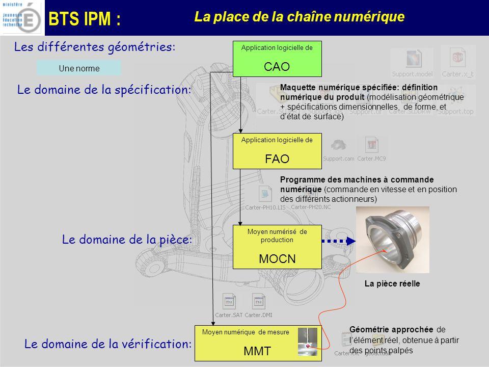 BTS IPM : La place de la chaîne numérique Les différentes géométries: Application logicielle de CAO Application logicielle de FAO Moyen numérisé de production MOCN Moyen numérique de mesure ; MMT Maquette numérique spécifiée: définition numérique du produit (modélisation géométrique + spécifications dimensionnelles, de forme, et détat de surface) Programme des machines à commande numérique (commande en vitesse et en position des différents actionneurs) Le domaine de la spécification: Le domaine de la pièce: Le domaine de la vérification: Une norme La pièce réelle Géométrie approchée de lélément réel, obtenue à partir des points palpés